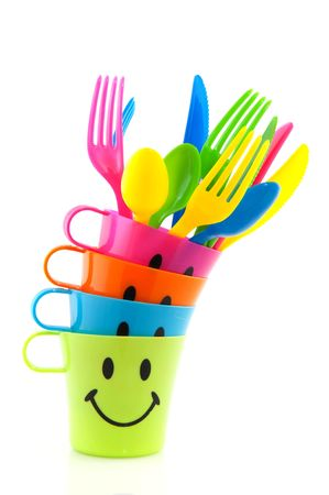 plastic set for picnic in many colors photo