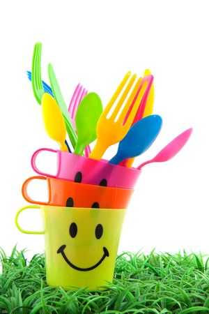 plastic spoon: plastic set for picnic in many colors Stock Photo