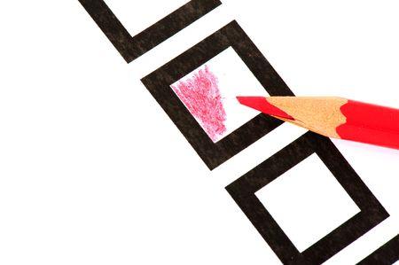 forme carre: Vote avec le crayon rouge dans la forme carr�e  Banque d'images
