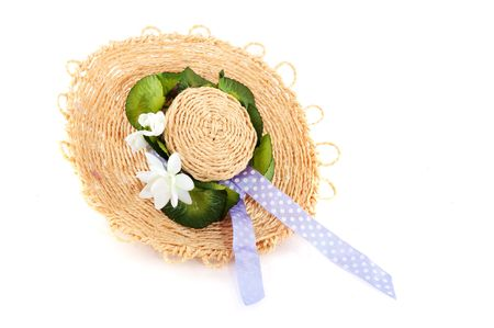 robbon: Straw summer head with flowers and ribbon