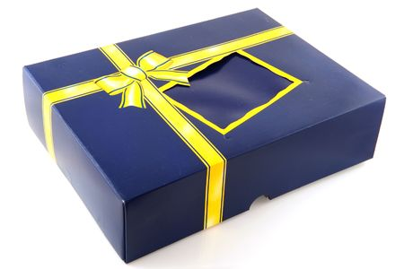 robbon: surprise box in blue with yellow robbon and bow