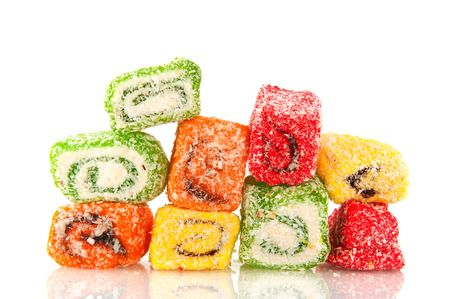 Tasteful sweet Turkish delight candy isolated over white Stock Photo - 6352116