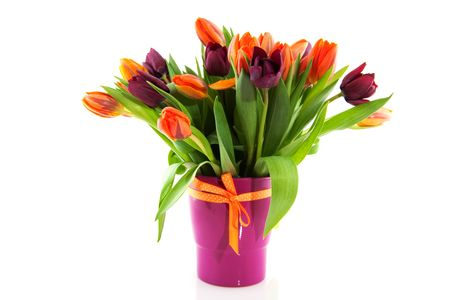 cheerful bouquet of orange and purple tulips photo