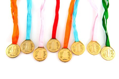 Golden medals with red white blue ribbon for the winner photo