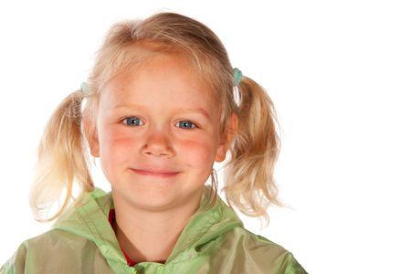tailes: Adorabile bambina bionda con tailes nel ritratto Archivio Fotografico