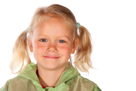 tailes: Adorable blond little girl with tailes in portrait