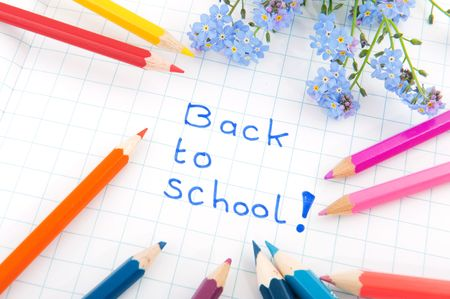 cheerful back to school with colors and flowers photo