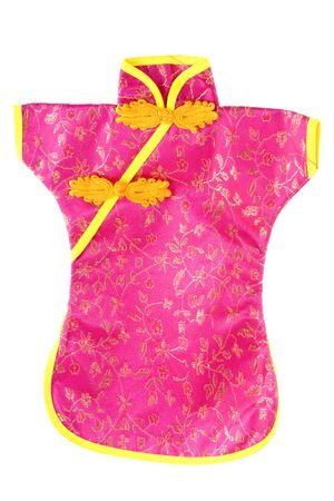 Chinese pink and yellow kimono isolated over white Stock Photo - 6413376
