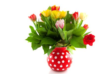 colorful bouquet of tulips in spotted vase Stock Photo - 6413488