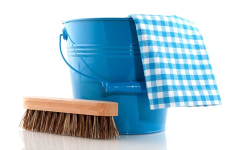 wood product: Cleaning with blue bucket and natural brush