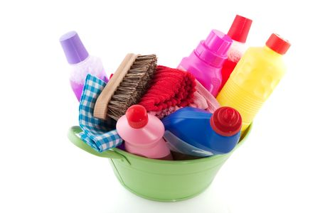merchandise: cleaning products as a bucket liquids soap and brushes