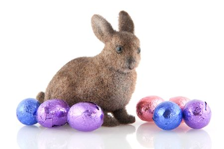 bunnie: easter hare with pink and purple chocolate eggs