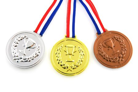 Golden silver and bronze medals isolated over white Stock Photo - 6448222