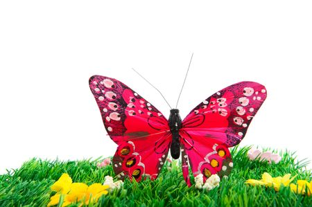 artificial flowers: Cheerful pink butterfly in summer landscape outdoor