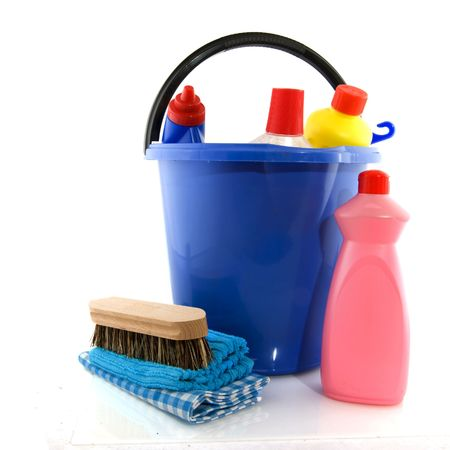 cleaning products with bucket liquids and brush