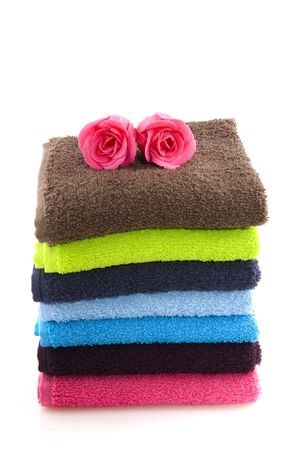 colorful folded towels in pink and blue  Stock Photo - 6512460