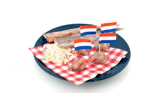 dutch culture: Dutch culture with traditional raw herring and onions Stock Photo