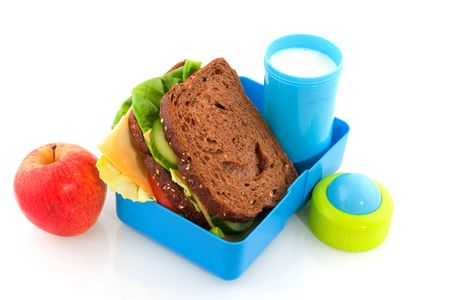 filled: Healthy lunch box filled with bread for take away