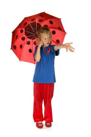 Little blond girl with ladybird umbrella isolated over white Stock Photo - 6503580