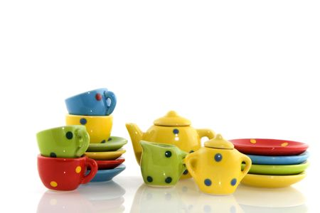 speckles: multicolor crockery with speckles isolated over white