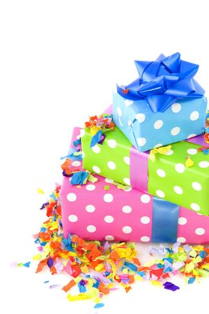 colorful presents dotted in multiocolor isolated over white photo