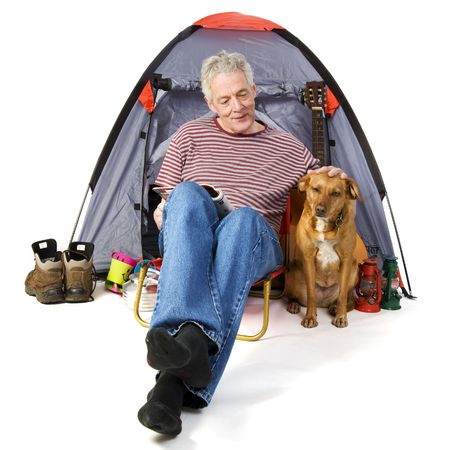 campground: Elderly man at the campground Stock Photo