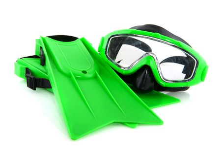 diving equipment: Green scuba gear for playing by kids  Stock Photo