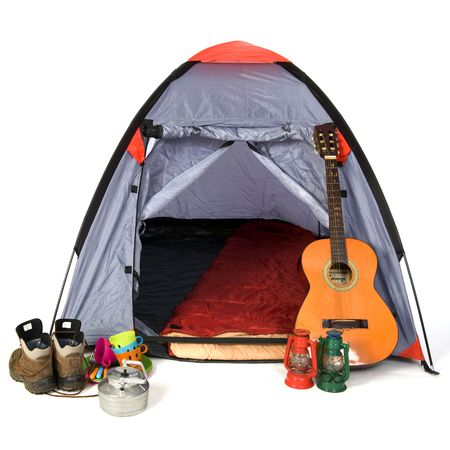 Leisure objects with tent at the campground Stock Photo - 6584627
