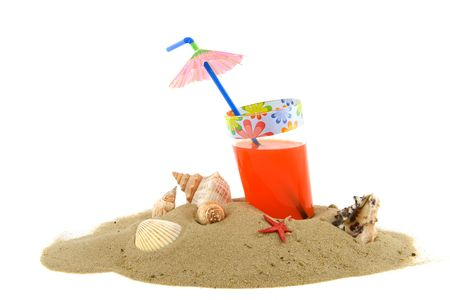 parasol: beach with lemonade and shells in the summer