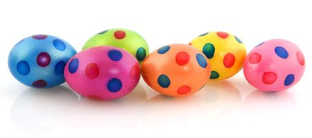 Painted easter eggs spotted in blue and pink Stock Photo - 6677191