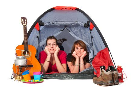 campground: couple in tent at campground isolated over white Stock Photo