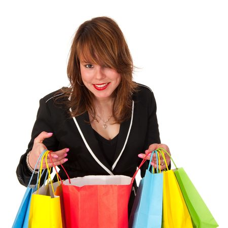 Girl is shopping and happy with the results Stock Photo - 6787253