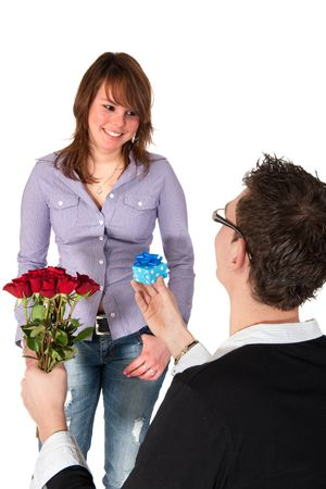 Young man is asking his girlfriend for a marriage photo