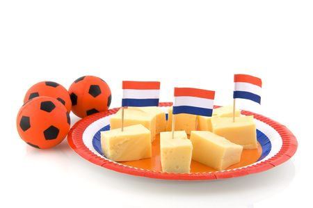 Dutch snack while looking soccer at the television photo