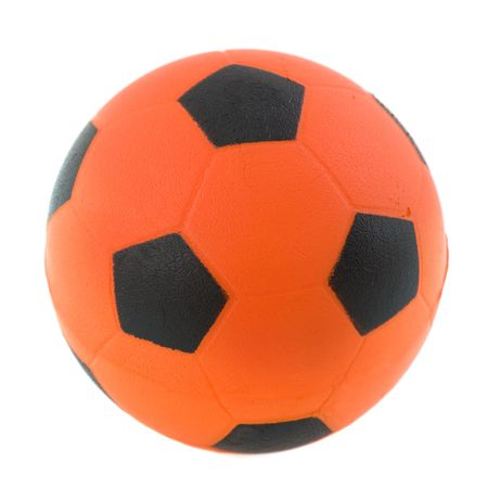Dutch orange soccer ball isolated over white photo
