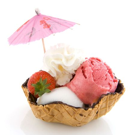 sorbet: sorbet ice cream in different tastes and parasol
