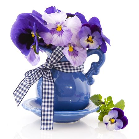 pansy: Blue little vase with bouquet colorful pansies