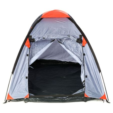 camping tent: Empty gray with red tent isolated over white