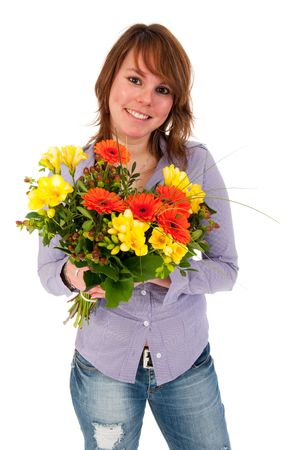 gerber flowers isolated on: Young girl with colorful bouquet in studio Stock Photo