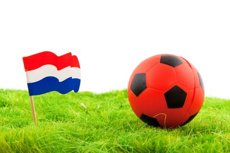 Dutch soccer with national flag and ball photo