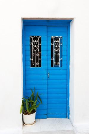 greek pot: Tradizionale blu porta greca con pianta in vaso