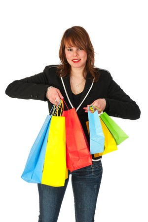 Girl is shopping with many colorful bags photo