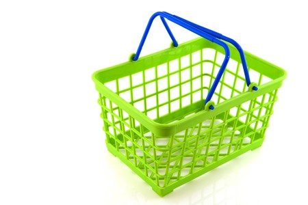 Green and blue shopping basket for the supermarket photo
