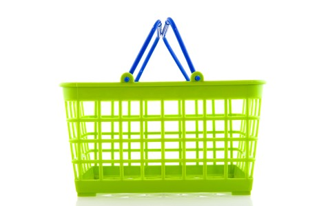 Green and blue shopping basket for the supermarket Stock Photo - 6950394