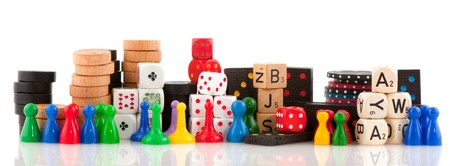 board games: All attributes to play board games isolated over white Stock Photo