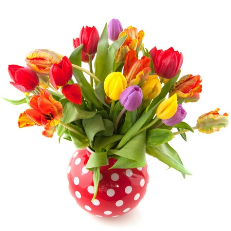 Colorful bouquet of tulips in red spotted vase photo