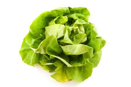 butter head: Fresh green lettuce butter head isolated over white