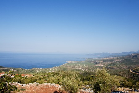 mani: Landscape from the mani peninsula with the coast Stock Photo