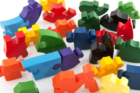 jig: Colorful difficult jig saw puzzle isolated over white Stock Photo