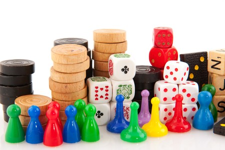 boardgames: All attributes to play board games isolated over white Stock Photo